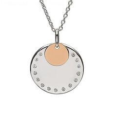 Irish Gold Disc CZ Pendant | Irish Jewelry