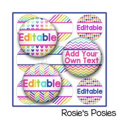 Editable Bottle Cap Image Sheet Bright Neon colors. Printable label, personalized sticker, envelope seal. Badge reel, bow center, jewelry images.
