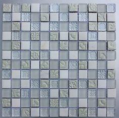 LUX White Mixed Glass & Stone Mosaic Tiles - Bathroom Tiles - Mosaic Tiles - Kitchen Tiles