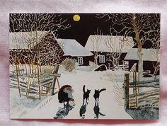 HARALD WIBERG  GNOME and  2 CATS KITTENS   Sweden Tomte Nisse Santa Elf Card picclick.com