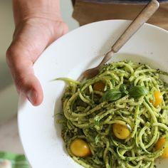 Zucchini Pasta with Vegan Cashew Basil Pesto