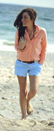 peach and baby blue scalloped shorts.