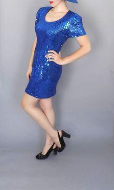 Vintage Electric Blue Sequin Dress Retro 1980s by alicksandraflin, $15.00
