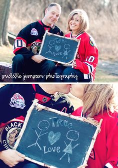 hockey engagement couple no chalk board though