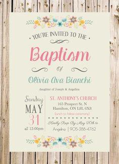 Baptism Invitation, Christening, Church, Ceremony, Party, Rustic, Floral, Pink, Blue, Grey, Flowers, Unisex by thelyricshoppe on Etsy https://www.etsy.com/listing/232181648/baptism-invitation-christening-church