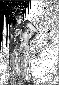 Virgil Finlay, Suarra from The Face in the Abyss by A. Merritt, Famous Fantastic Mysteries 40-10.