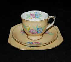"""Lovely Shelley trio in a floral pattern.  The pattern #12866 is listed in pattern books but has no name associated with it.  The shape is called """"Ascot""""."""