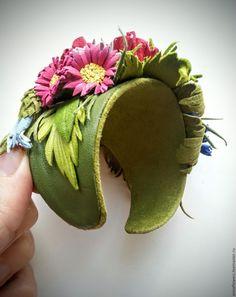 """Купить Браслет из кожи """" Разноцветье """" - разноцветный, браслет из кожи, браслет с цветами leather headpiece"""