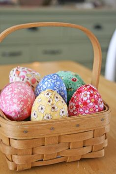 Use these fabric covered eggs as a centerpiece at your Easter gathering, or let the kids search for them on an Easter egg hunt.