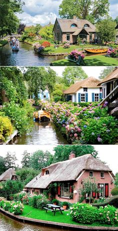 So cute, like a little village straight out of fairy tales Giethoorn, Netherlands: a village with no roads.