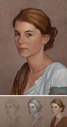 """Portrait of Aida"" (Transcendent Technique) - Scott E. Bartner (b. 1960), oil on panel, 2014 {figurative realism art beautiful female woman face portrait painting progression #WIP #loveart} bartner.nl"