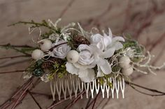Hair Combs – Flower hair comb, wedding hair comb – a unique product by evafleur on DaWanda