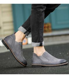 Men's dark #grey leather #DressShoes retro design, Slip on style, round toe design, casual, work office occasions.