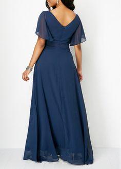 V Neck Navy Blue High Waist Maxi Dress   Rosewe.com - USD $36.63