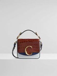 Chloé C Mini Bag In Embossed Croco & Lizard Effect On Calfskin & Shiny Calfskin Leather Handle, Leather Bag, Womens Designer Bags, Chloe Handbags, Bold Jewelry, Chloe Bag, Prada Bag, Cute Bags, Dust Bag