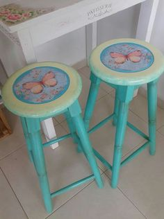 Bar Stools, Decoupage, Furniture, Vintage, Home Decor, Recycling, Painted Benches, Recycled Furniture, Mesas