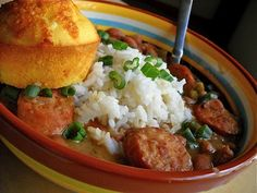 Red Beans Rice Cornbread - Not a slow cooker recipe, but you'll need to soak beans overnight.  I might swap the green pepper for a red one also.