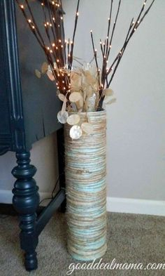 Floor vase made with oatmeal containers!