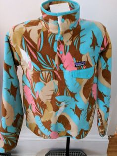 Patagonia Womans Light Synchilla Snap Pullover Sz M Turquoise Tan Pink NWT #Patagonia #FeatherDance