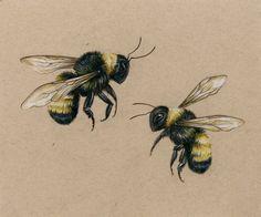 Honey Bee Tattoo, Bumble Bee Tattoo, Ribbon Tattoos, Mom Tattoos, Tatoos, Tiger Butterfly Tattoo, Bee Drawing, Insect Tattoo, Bee Illustration