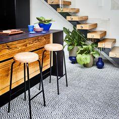 Mediterranean 595 Emilia Vinyl   Carpetright Kitchen Tile, Kitchen Flooring, Vinyl Sheet Flooring, Black Floor, Underfloor Heating, Vinyl Sheets, Mid Century Style, Tile Design, Contemporary Interior