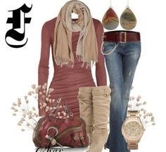 I like the colors here but swap the heeled boots for flat ones and exchange the jeans for a navy skirt.