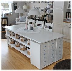 42 Perfect Craft Room Storage and organization Ideas is part of Room Organization Ikea - Find Here 42 Perfect Craft Room Storage and organization Ideas Craft Room Storage, Craft Tables With Storage, Sewing Room Organization, Storage Ideas, Table Shelves, Craft Room Tables, Ikea Craft Room, Craft Desk, Office Storage