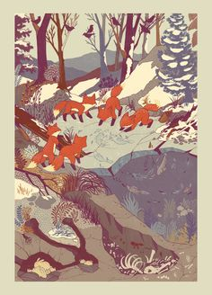 I like how the illustration looks ancient due to the faded colors. Artwork by Teagan White. ♣ Tags: #asian #fox #snow
