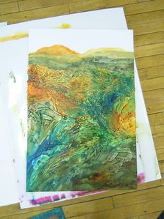 The use of Gel Medium to create texture  http://insideout-blog.com/category/aqua-media-collage/