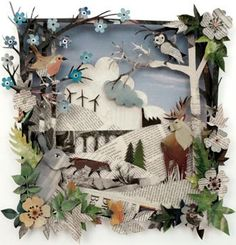 multi-layered paper art creations from Helen Musselwhite