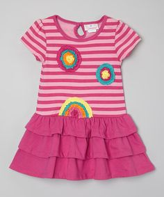 Look what I found on #zulily! Pink Stripe Flower Ruffle Dress - Infant, Toddler & Girls #zulilyfinds