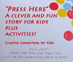 """""""Press Here"""" by Herve' Tullet is a clever and unique action story. This post has two awesome activities using art and marbles that connect to this fun book. Interactive Books For Kids, Kids Activity Books, Preschool Books, Preschool Activities, Elementary Library, Elementary Teaching, Pre K Activities, Craft Activities For Kids, Action Story"""