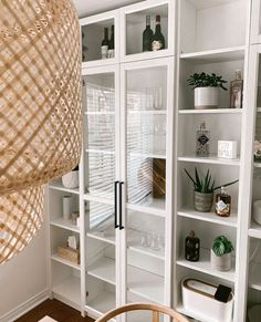 Ikea Billy Bookcase White, Billy Ikea, Billy Bookcases, Living Room Glass Cabinet, Dining Cabinet, Black And White Dining Room, Living Room White, Ikea Furniture Hacks, Home Furniture