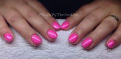 Super pink ! Beautiful pink gel with a shimmer coat on top