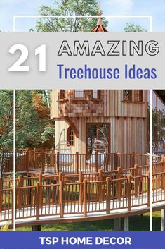 The treehouse seriously will be the favorite spot for your whole family. So, these are some of the best examples which range from simple to complex. Treehouse Ideas, Tree House Designs, Backyard For Kids, Build Your Own, 21st, Deck, Range, Simple, Building