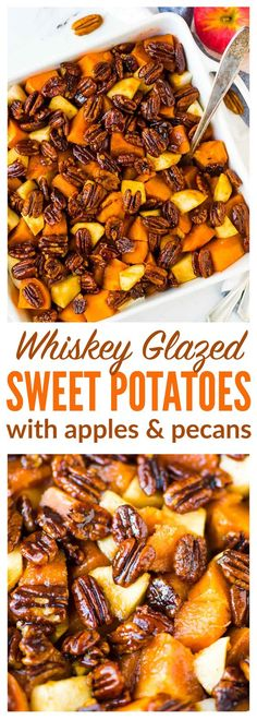 Glazed Sweet Potatoes with Cinnamon Butter Pecans and Apples. The BEST sweet potatoes for Thanksgiving, Christmas, or anytime you need a great side dish recipe. Recipe at wellplated.com | @wellplated