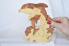Dolphins Wooden puzzle Natural Baby Toy Montessori Toy