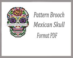 Items similar to Beaded Pattern Mexican Skull, Beaded Peyote Brooch Mexican Skull Bead weaving Miyuki Delika Pattern Mexican Skull, Tutorial beading weaving on Etsy Beading Patterns Free, Seed Bead Patterns, Beaded Bracelet Patterns, Peyote Patterns, Weaving Patterns, Beaded Bracelets, Peyote Beading, Seed Bead Earrings, Skulls