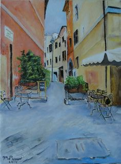 Straatje in Rome, Vicolo del Cedro door Riet de Paauw