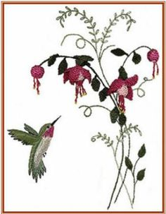 Brazilian Embroidery Pattern Fuchsia and Hummer
