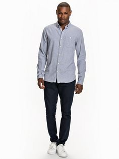 Solid Col. Flanel Shirt - Knowledge Cotton - Grey Melange - Skjortor - Kläder - Man - NlyMan.com
