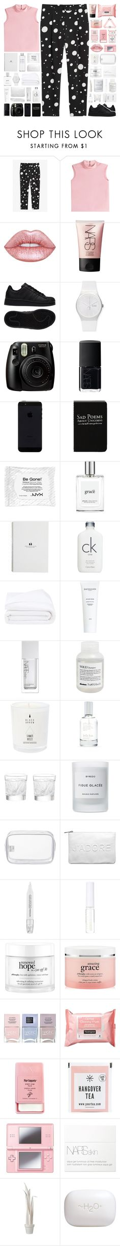 """""""if you're not with me, i'd rather not be saved"""" by allyrobin ❤ liked on Polyvore featuring Monki, RED Valentino, Lime Crime, NARS Cosmetics, adidas, Swatch, Fujifilm, Rich and Damned, NYX and philosophy"""
