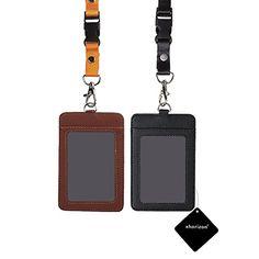 xhorizon TM SR 2 Pieces Vertical PU Leather Business ID Badge Card Holder with 1 ID Window and 1 Card Slot and Detachable Neck Lanyard / Strap for Passport, ID Card and Name Tag