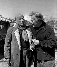 Marc Chagall and Pablo Picasso, St. Paul de Vence, 1955 -by Philippe Halsman