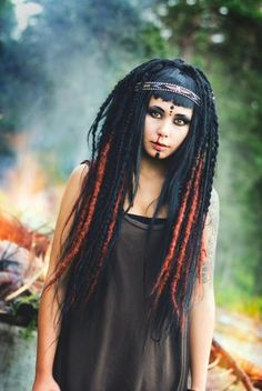 Black partywig as base. I backcombed the wig in sections, crocheted them and attached extensions to them in black and copper red. Also attached loads of braids in various shapes and some wrapped dreads for texture. Dreads Styles, Hair Styles, Buy Hair Extensions, Dreadlock Extensions, Tribal Makeup, Synthetic Dreads, Interesting Faces, Remy Human Hair, Beautiful People