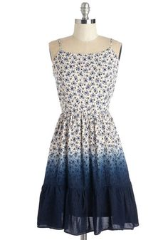 Ombre of Sunshine Dress - Mid-length, Woven, Blue, Floral, Ombre, Casual, A-line, Spaghetti Straps