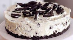 Video und Rezept: Oreo No Bake Cake, ein Kochvideo Oreo Cake, Oreo Cheesecake, Tart Recipes, Sweet Recipes, No Bake Desserts, Dessert Recipes, Homemade Sweets, Baked Strawberries, Cooking Cake