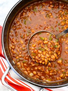 The Best BBQ Baked Beans #recipe on foodiecrush.com #bakedbeans