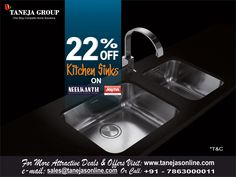 #TanejaGroup  Announces UPTO 22% OFF Kitchen Sinks on NEELKANTH & JAYNA To avail the offer  Visit Our Website:- http://tanejasonline.com/product-category/kitchen-appliances/modular-kitchen-and-kitchen-accessories/page/7/