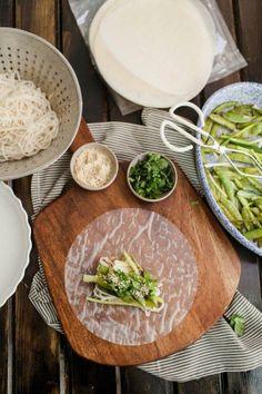 Recipe: Roasted Scallion & Snap Pea Spring Rolls with Tahini Sauce